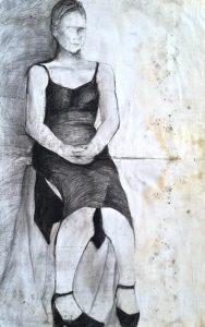 Kamil Mackiewicz, Kobieta w czerni, węgiel, papier