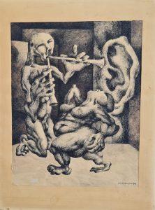 Maciej Cichocki, Scena mitologiczna, 1970 r., tusz, piórko, papier